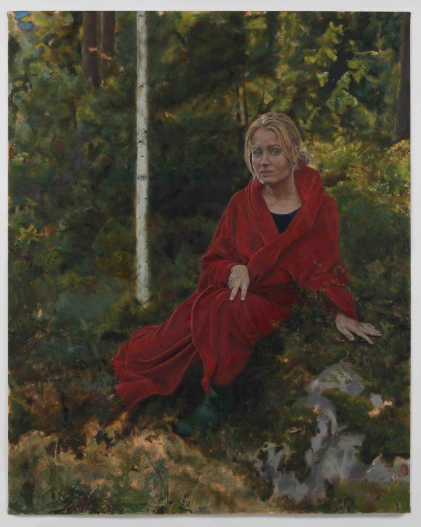 Benjamin Kassinen: Hon och skogen, 2020, öljy kankaalle, 125 x 100 cm