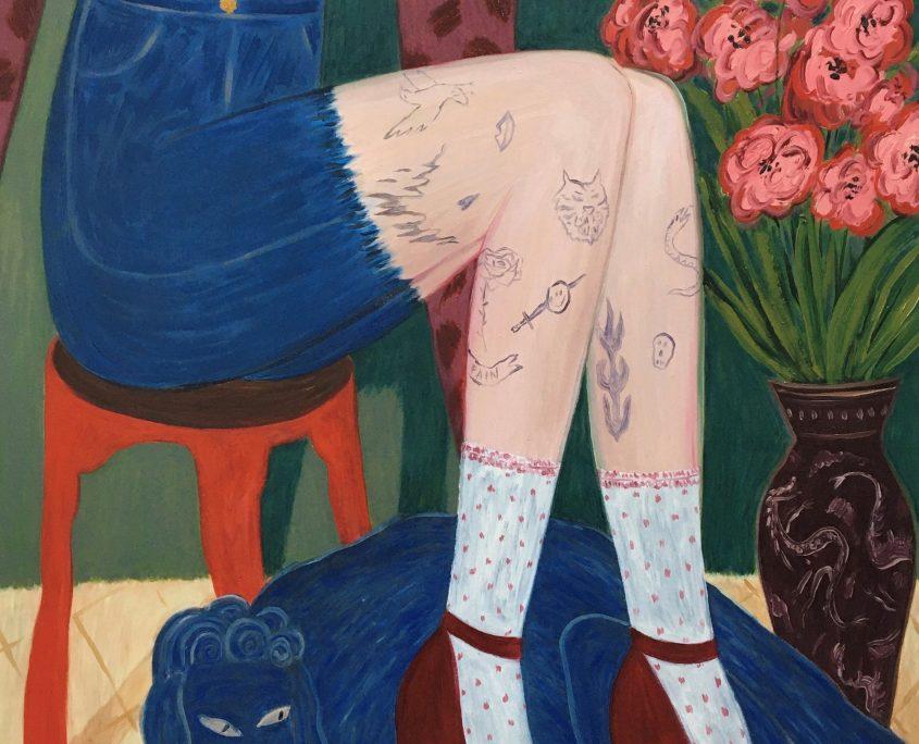Anna-Stiina Korhonen: Koirani ei ole enää niin musta, 80x100 cm, öljy kankaalle, 2020