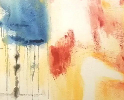 Yksityiskohta Mirva Niirasen teoksesta Tuonelan joutsen, 2020,130 x 130 cm, sektekniikka kankaalle