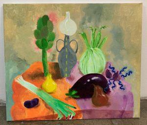 Emilia Hakkarainen, Still Life with Leek hand 2020, öljymaali kankaalle, 60 x 80 cm