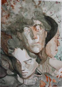 Heini Laaksonen, Savua, 2020, vesiväri paperille, 21 cm x 29,7 cm