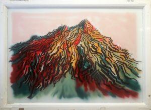 Jaakko Pennanen, Mountain #1, 2021, akryyli ja spray lasille, 146x106cm