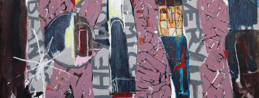 Osa Kim Somervuoren teoksesta Natural concrete, 2020, akryyli, öljypastelli kankaalle, 169 x 120 cm