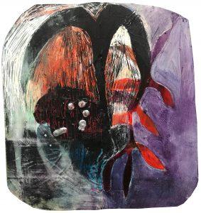 Miisa Mäkeläinen, Suuria voimia, 2020, akryyli ja öljypastelli kovalevylle, 34 x 37 cm