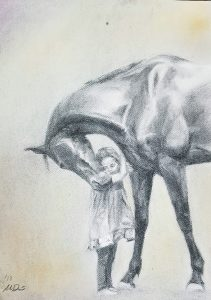 Miranda Dunderfelt, Hellä, 2018, hiili ja pastelli, 41 x 32 cm
