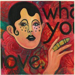 Sanna Ulvila, Get what you love, 2020, öljy, akryyli ja hiili levylle, 122x124cm