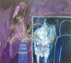 Silja Paakkinen, He Was Afraid of A Mirror, 2020, öljy kankaalle ja mdf-levylle, 32 cm x 35,5 cm