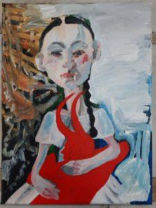 Taru Kavonius, Kukaan ei ole menossa helvettiin, 2020, akryyli kankaalle, 30 x 40 cm