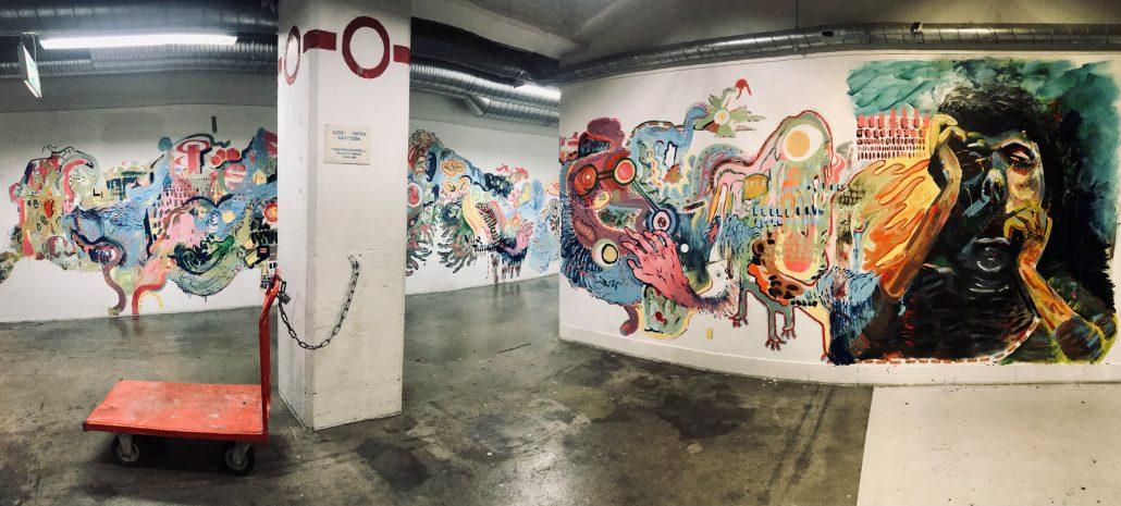 Ensimmäisen vuosikurssin seinämaalaus Galleria Vaagassa, kurssi Kim Somervuoren ohjaama