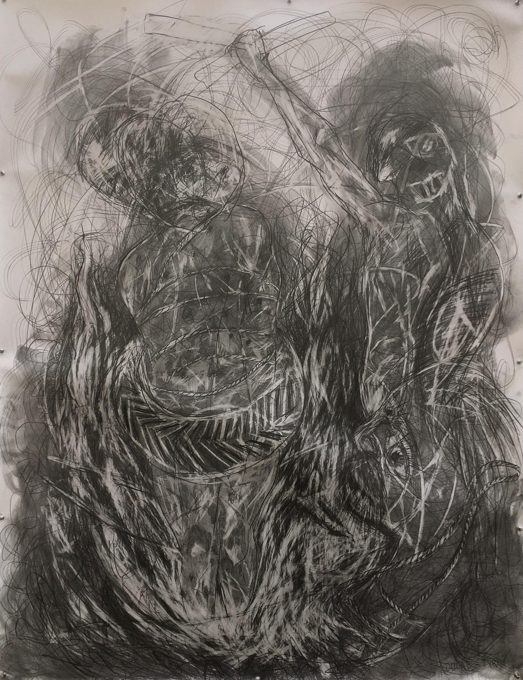 """Ilkka Sariola, """"Dulab - Rengas"""", sarjasta Dies Irae Drawings, lyijykynä ja grafiitti paperille, 115 x 150 cm, 2020"""